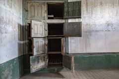 Mortuary in ellis island abandoned psychiatric hospital interior rooms Royalty Free Stock Image