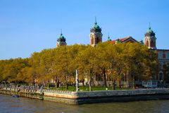 Ellis Island. Grounds where many immigrants came to America to become citizens Stock Photo