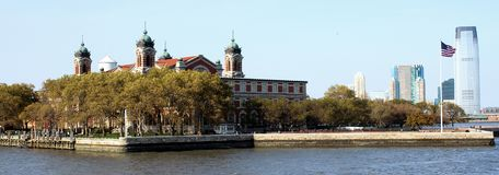 Ellis Island. Grounds where many immigrants came to America to become citizens Royalty Free Stock Image