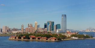 Ellis Island and new Jersey Skyline Stock Image