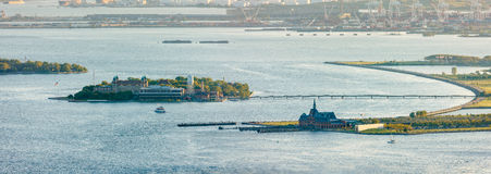 Ellis Island, New York Harbor and Liberty State Park Stock Photos