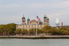 Ellis island in New York harbor. Main immigration building. USA stock images