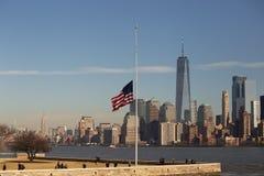 Ellis Island and New York Skyline Stock Photos