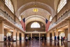 Ellis Island NYC. Ellis Island, New York City - August 19, 2015: View of the Great Hall at historic landmark Ellis Island immigrant gateway Royalty Free Stock Photo
