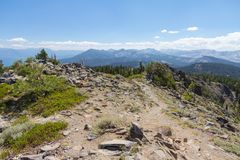 Ellis Peak-top, het Nationale Bos van Tahoe, Californië royalty-vrije stock foto
