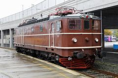 Ellok Ma 404. Trondheim, Norway - September 30, 2016: One brown electric locomoitive class Ma in service forr Norsk transport AS at the Trondheim Central station royalty free stock photo