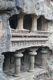 Ellora陷下,古老印度石头被雕刻的寺庙,不使16,印度陷下 免版税库存图片