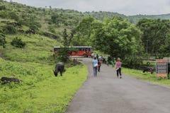 Ellora, Ινδία - 15 Αυγούστου 2016: Άνθρωποι που επισκέπτονται στις σπηλιές ι Στοκ Εικόνες