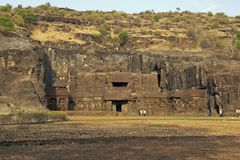 Ellora Caves. Ancient Hindu Rock Temple Royalty Free Stock Photos