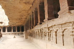 Ellora Caves, Binnenmening van de Kailasa-Tempel, Hindoes Hol Nr 16, India Royalty-vrije Stock Foto's