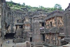 Ellora Caves, de steen sneed Hindoese Kailasa-Tempel, Hol Nr 16, India Royalty-vrije Stock Foto