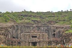 Ellora Caves den Kailasa templet, grotta inga 16, Indien Arkivfoto