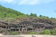Ellora Caves, den längsta stenen sned grottor, Indien Arkivfoton
