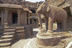 Ellora Caves - India - Elephant Statue Outside Ancient Jain Temple Royalty Free Stock Photo