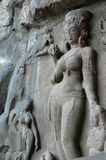 Ellora Caves sculptures. Ancient Buddhist stone sculptures and carvings at Ellora Caves, Aurangabad, Maharashtra, India stock image