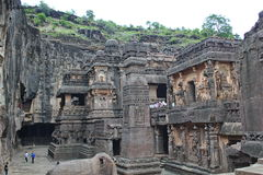 Ellora Caves, The stone carved hindu Kailasa Temple, Cave No 16,India royalty free stock photo