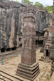 Ellora caves, Stone carved pillar, Cave No 16,India Royalty Free Stock Photo