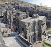 Ellora grottor i Indien Arkivbilder