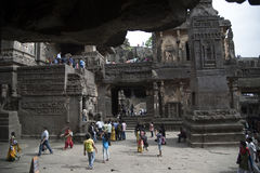 Ellora, India - 15th August 2016: People visiting to the caves i royalty free stock photo
