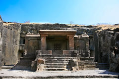 Ellora rock carved Buddhist temple Royalty Free Stock Photo
