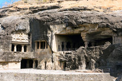 Ellora rock carved Buddhist temple Stock Photos