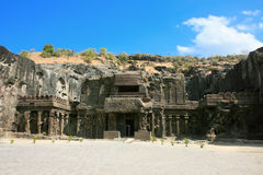 Ellora rock carved Buddhist temple Stock Images