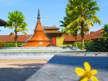 Ellow flower blur with a pagoda. Ellow flower blur with a pagoda background Stock Photos