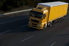 Ellow truck with trailer Royalty Free Stock Photos
