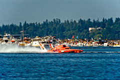 Ellstrom Race Hydro Seafair. Unlimited hydro race boat along the log boom at Seafair on lake washington in seattle wa Stock Photography