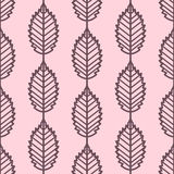 Elm leaves seamless vector pattern. Vintage style and colors (light red-purple). Stock Photo