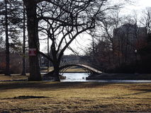 Elm Park popular bridge for weddings, popular park in city in massachusetts,  beautiful view while sitting in park listening to su Royalty Free Stock Images