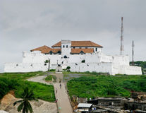 Elmina Castle in Ghana near Accra. Elmina Castle was the exit port for slaves from Ghana in Africa. This is the entrance to the fort royalty free stock photo