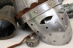 Elmo cavaliere n.3. Closeup view of a medieval helmet and other typical items Stock Photos