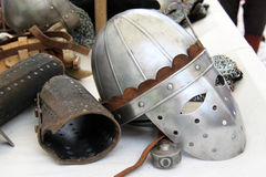 Elmo cavaliere. Some typical items of a medieval knight Stock Photo