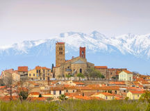 Elne cathedral and Pic du Canigou Stock Photo