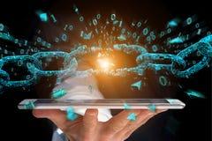 Elo mais fraco de um blockchain quebrado que explode - 3d rendem Imagens de Stock