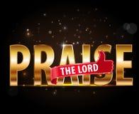 Elogie el concepto del señor de la adoración, tipografía de oro con los pulgares encima de la muestra Foto de archivo