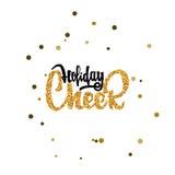 Elogio do feriado - pintura do ouro da caligrafia, similar à folha Vetor feito a mão para seu projeto Fotos de Stock Royalty Free