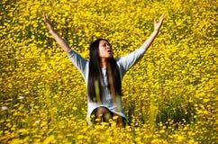 Elogio e fede di gioia della donna Fotografia Stock Libera da Diritti
