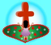 Elogio en la cruz stock de ilustración