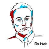 Elon Musk Portrait royaltyfri illustrationer