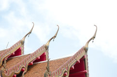 The elongated and elaborately  Buddhist temple Stock Photo