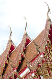 The elongated and elaborately  Buddhist temple Royalty Free Stock Photography