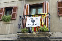 Balcony with a estelada and for the basque prisoners. ELORRIO, SPAIN - OCTOBER 17, 2017: Balcony with a estelada, the unofficial flag flown by catalan Royalty Free Stock Photos