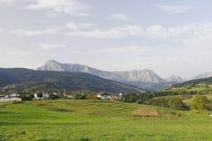 Elorrio town and Anboto mountain. Elorrio town and Anboto mountain, Biscay, Basque Country, Spain. Urkiola national park Royalty Free Stock Photo