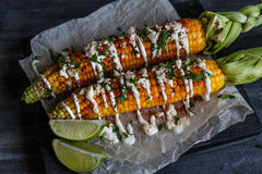 Elote or Mexican grilled corn on the cob served with cotija cheese and chili powder. Royalty Free Stock Photography