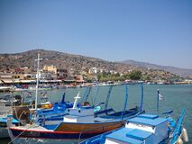 Free Elounda, Crete, Greece - September 2: Boats Are Parked In A Row. View Of The Bay, Mountains Stock Images - 178779934