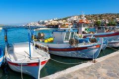 Elounda harbour. Crete, Greece. Fishing boats in the harbour of Elounda. Crete, Greece, Europe Stock Photo