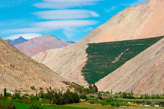 Elqui Valley. Vineyards line the valley floor and and papayas grow on the sides of the mountains bordering the Elqui Valley.  Lenticular clouds hover over the Royalty Free Stock Image