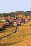 Elsässisches Dorf im Weinberg Stockfotos